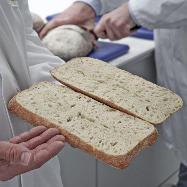 Ein Mann im Kittel hält ein geöffnetes Brot