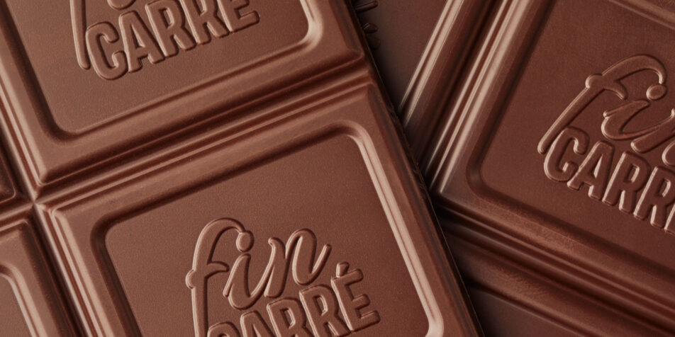 Detail-Aufnahme der Fin Carré Schokolade